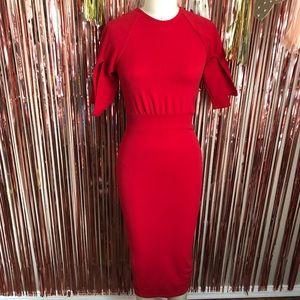 Boohoo Night Red Slit Sleeves Midi Dress